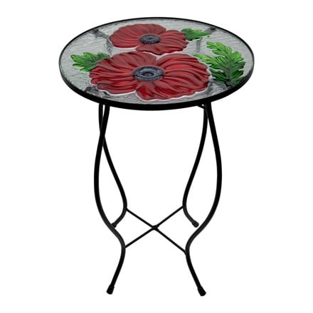 Ornamental glass poppy bird table