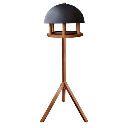 Oak bird table with black dome roof