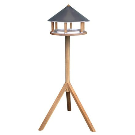 Oak bird table with zinc plated roof
