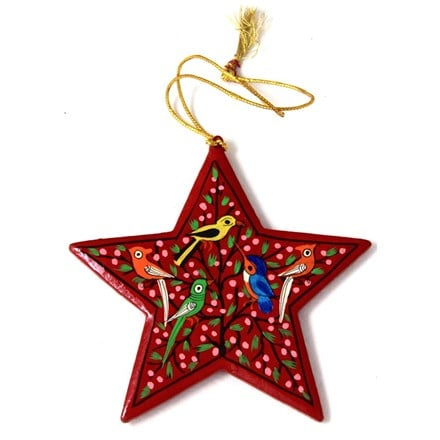 Red star decoration - birds - 1 left