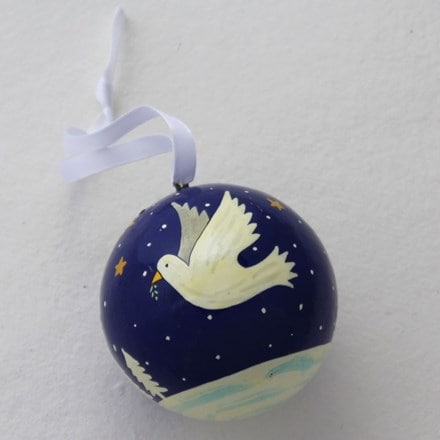 Doves in flight bauble