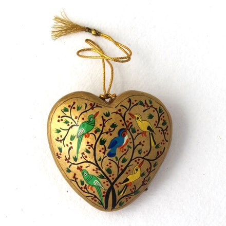Gold heart decoration - birds