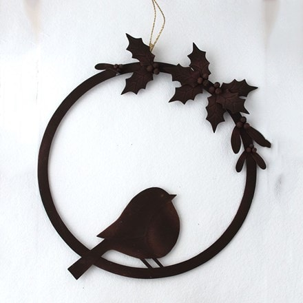 Yuletide robin wreath