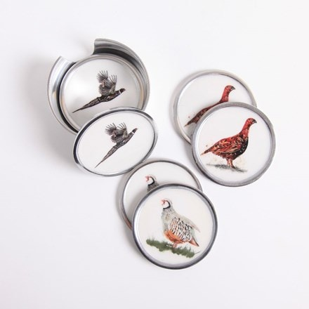 Recycled game bird coasters