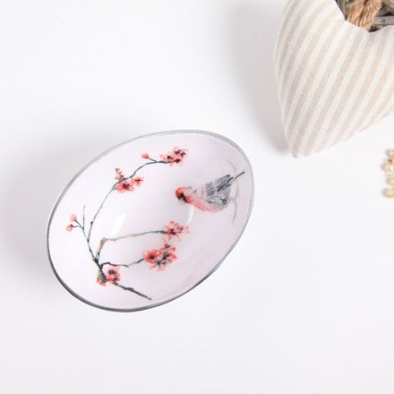 Recycled Japanese blossom oval bowl