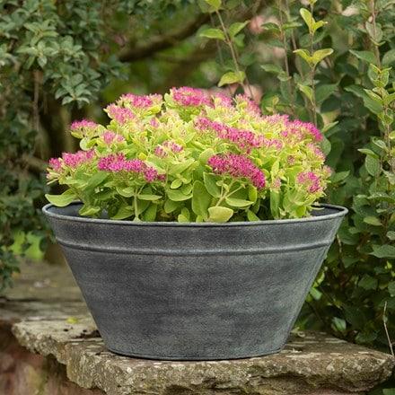 Metal cone planter - aged zinc