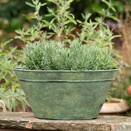 Metal cone planter - verdigris