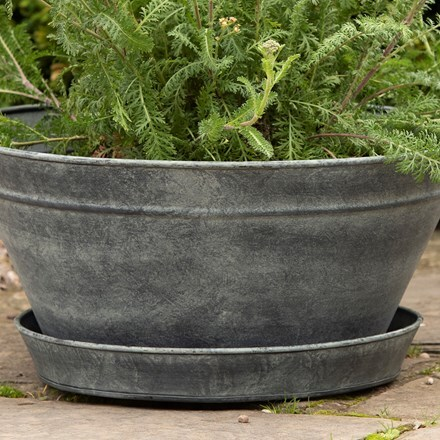 Aged zinc saucer