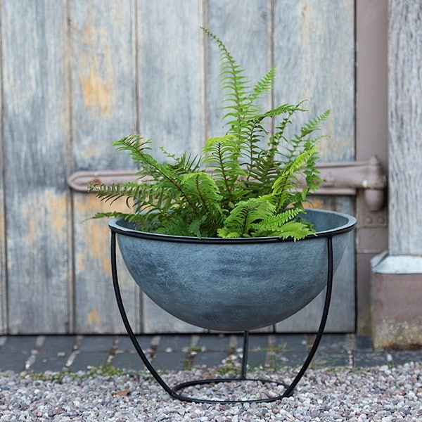 Aged zinc plant bowl and stand