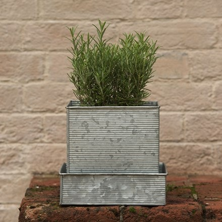 Ribbed square planter and tray