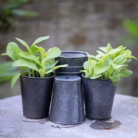 Set of six dark galvanised pots
