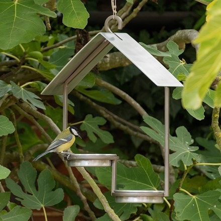 One up one down bird feeder - brushed aluminium