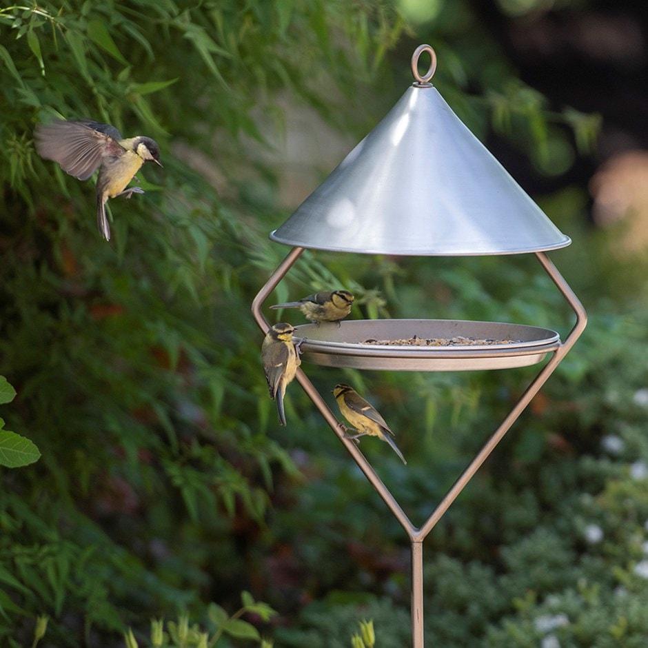 Bird feeding hut on stake - brushed aluminium