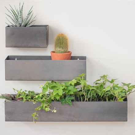 Zinc wall planters - set of 3