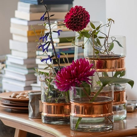 Glass and copper vase