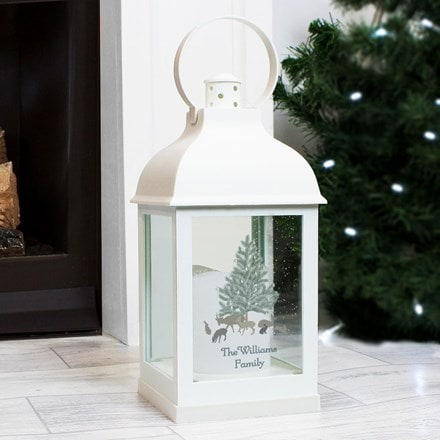 Personalised A Winter's Night  white lantern