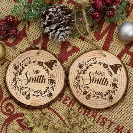Personalised engraved couple's Christmas tree decorations