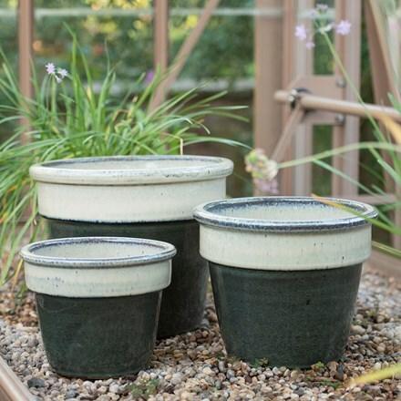 Two tone glazed pot - ocean green & cream