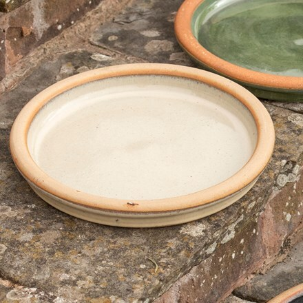 Glazed ceramic bird bath/saucer - oatmeal