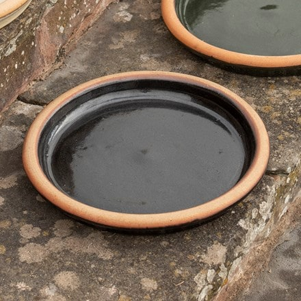 Glazed ceramic bird bath/saucer - black