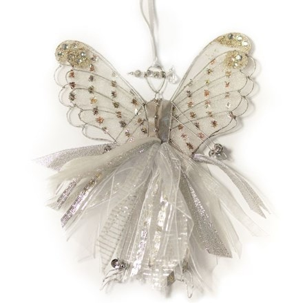 Double winged fairy with silver ribbons