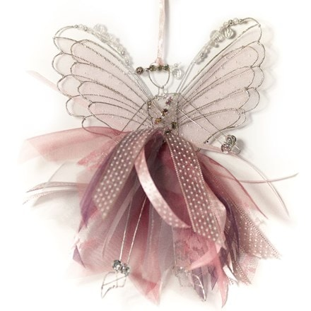 Double winged fairy with pink ribbons