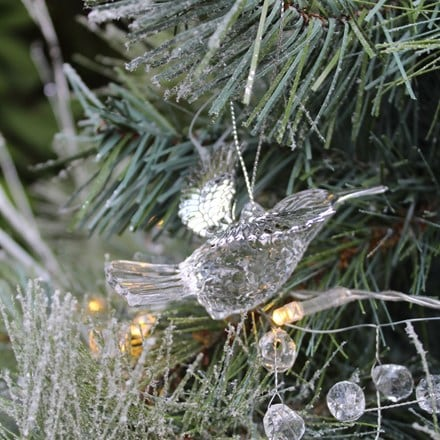 Clear/silver metal hummingbird decoration