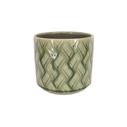 Green zig zag ceramic pot cover