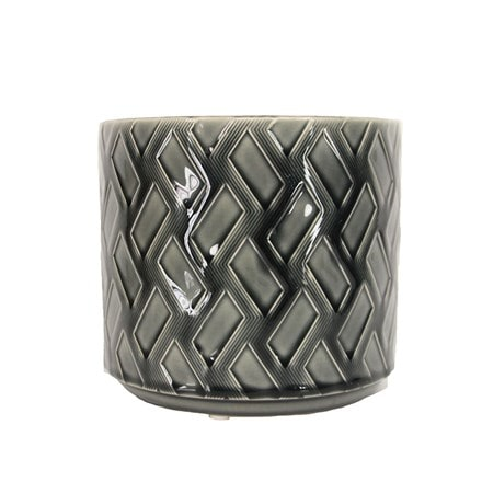 Charcoal zig zag ceramic pot cover
