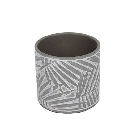 Palm design concrete pot cover