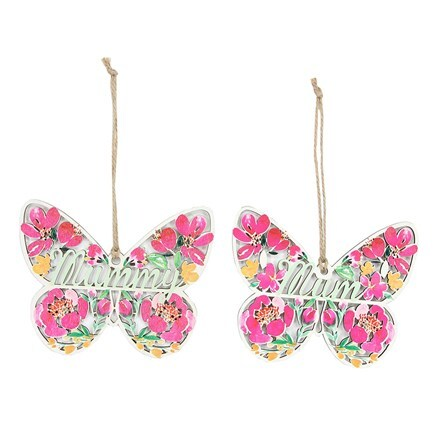 Wooden fretwork Mum butterfly decoration