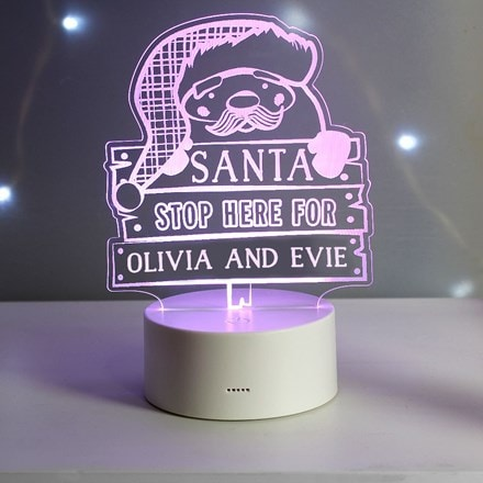 Personalised 'Santa Stop Here' LED colour changing night light