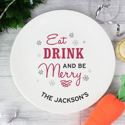 Personalised 'Eat, Drink, and Be Merry' Christmas plate