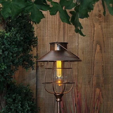 Solar copper lantern stake