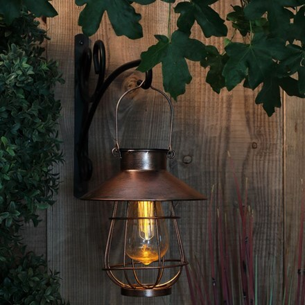 Copper solar lantern with bulb