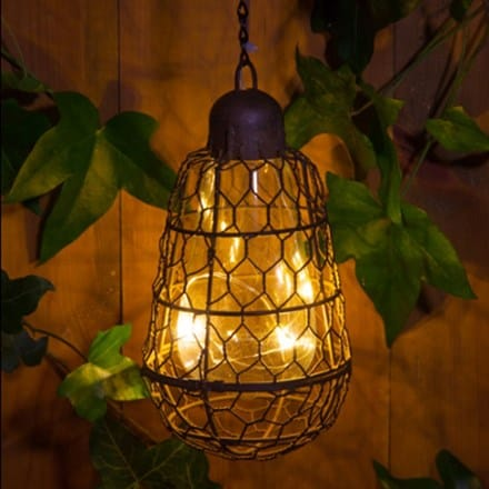 Rustic bulb solar hanging light
