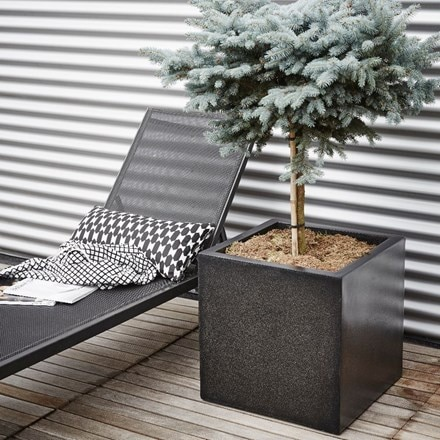 Cadix planter square terrazzo black