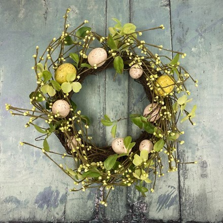 Green/cream egg and twig wreath - 35cm