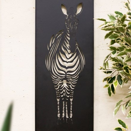 Black zebra indoor/outdoor steel wall art
