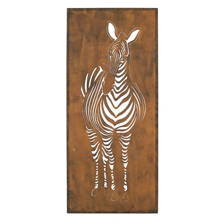 Oxidised zebra indoor/outdoor steel wall art