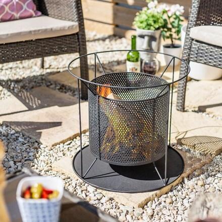 Kora steel round mesh suspended firepit