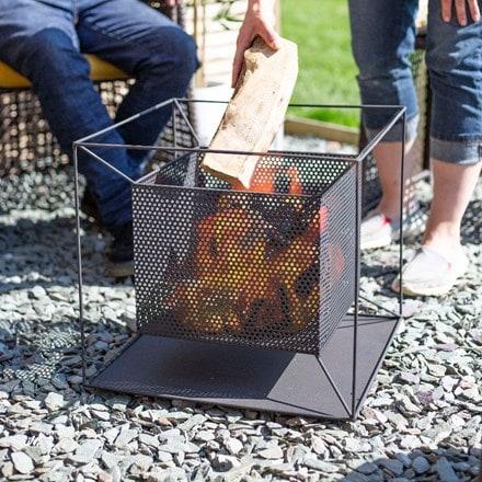 Taku steel square mesh suspended firepit