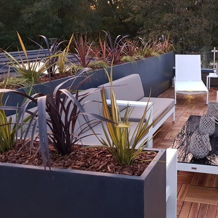 Moden raised narrow contemporary trough planter dark grey