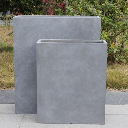 Moden raised narrow contemporary trough planter light grey
