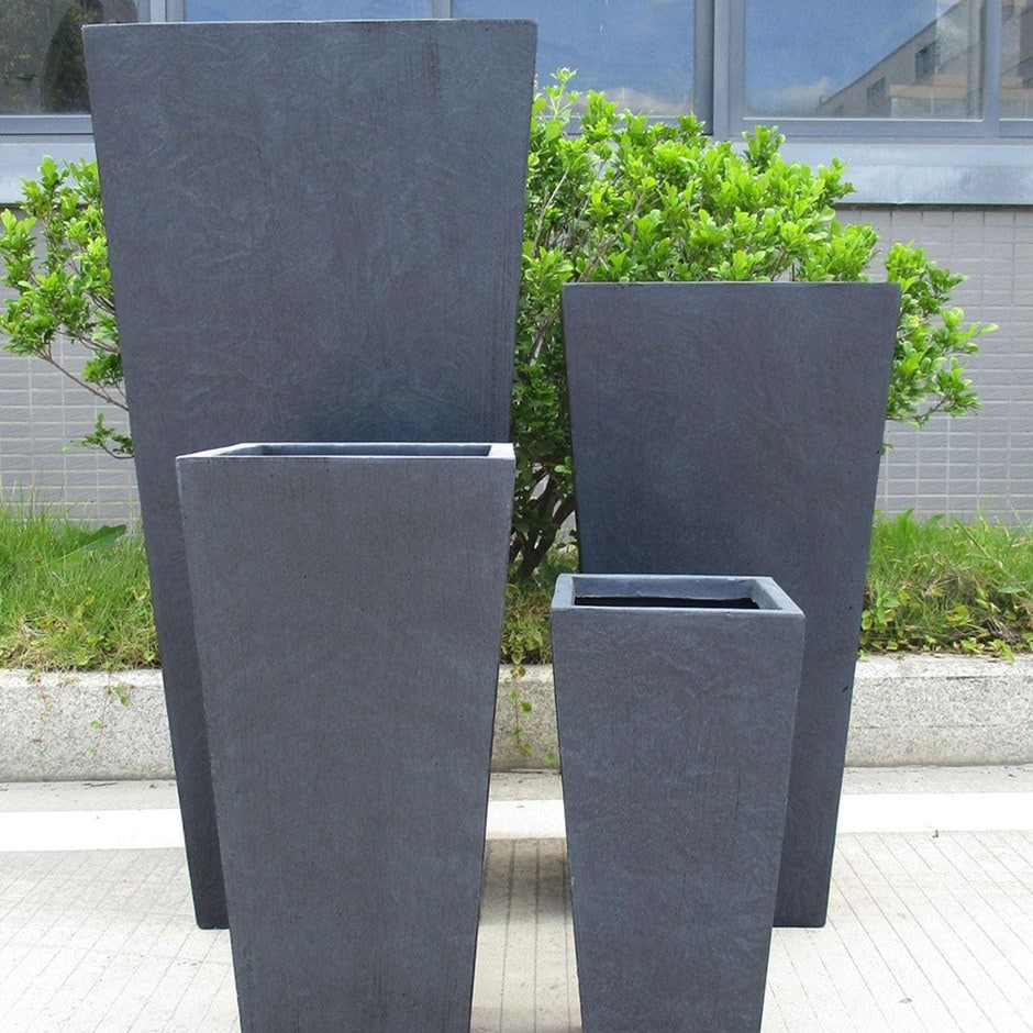 Moden tall tapered contemporary planter dark grey