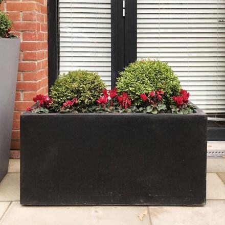 Moden contemporary trough planter black