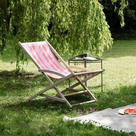 Rocking deck chair in rhubarb stripe
