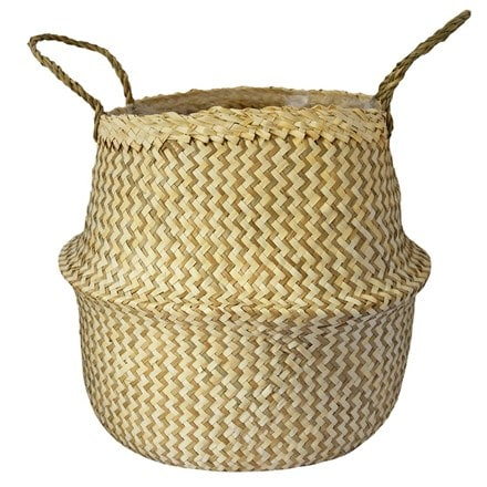 Seagrass chevron white lined basket