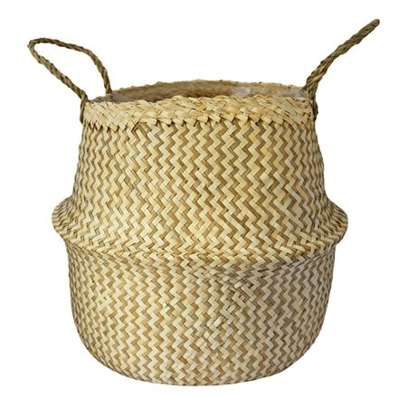 Seagrass chevron white lined basket