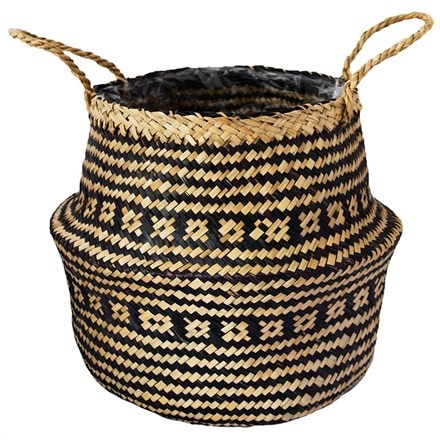 Seagrass tribal black lined basket